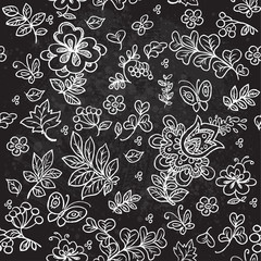 Seamless pattern of doodles flowers