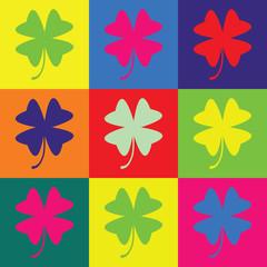 Retro pop art illustration with clover leaf