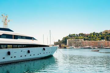 Modern Yacht Moored At City Pier, Jetty in Monaco