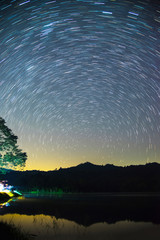 Star trails movement at night in Thailand.