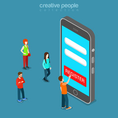Mobile registration app login password flat isometric vector 3d