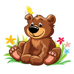 Vector illustration with lovely teddy bear sitting on grass, with yellow butterfly on his ear. Isolated on white background