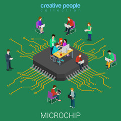 Microchip microprocessor programming code flat isometric vector