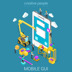 Mobile GUI prototype UI/UX interface flat isometric vector 3d