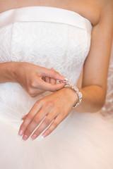 bracelet on the bride's hand
