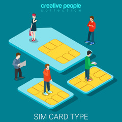 SIM card type size phone chip cards flat 3d isometric vector