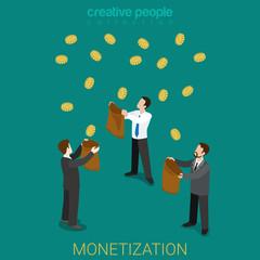 Monetization business investment money flat 3d isometric vector