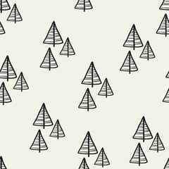 Christmas seamless tree doodles pattern.