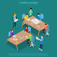 Newspaper editoring teamwork media room flat isometric vector 3d