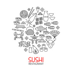Line art concept for japanese restaurant and menu templates. Creative detailed illustration with sushi, rolls, seafood and cultural elements of Japan.
