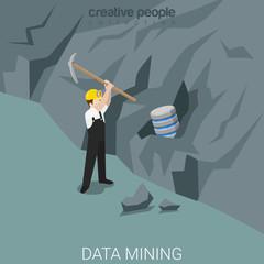 Data miner technology mining rock server flat isometric vector