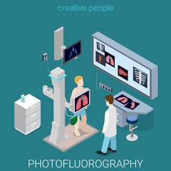 Photofluorography medical equipment flat isometric vector 3d