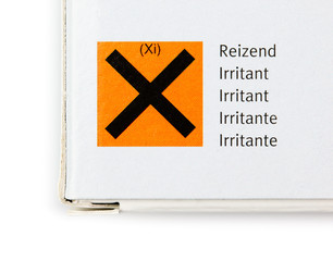 Packaging with hazard symbol for irritant substance