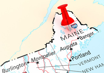 Red Thumbtack Over Maine State USA Map