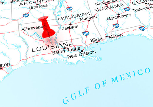 Red Thumbtack Over Louisiana State USA Map