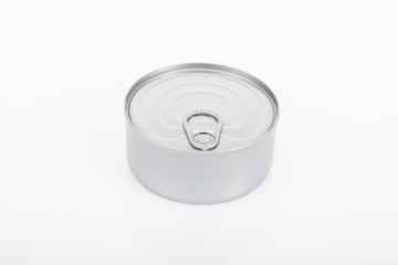a can of tuna on white background