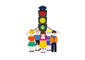 Traffic light and children