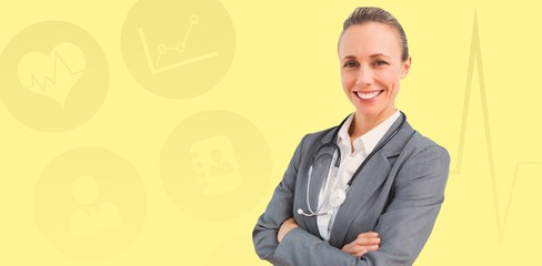 Composite image of smiling doctor woman