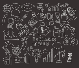 Vector set of doodle images Business and finance