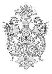 Dragon Frame Ornament vector