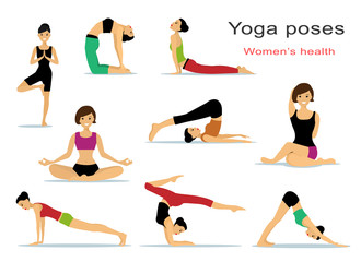Yoga poses for women. Beautiful sport girls doing yoga. Flat style vector illustration