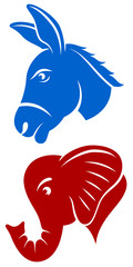 Vector illustration of a donkey and an elephant, representing the Democratic and Republican political parties of the United States.