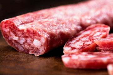 salami on wooden background