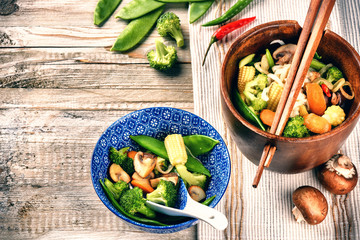Asian noodles with stir-fried vegetables. Food background