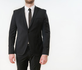 part of business man body in black suit