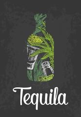 Bottle of tequila with glass, cactus, salt and lime. Color hand drawn sketch on vintage black background. Vector engraved illustration.