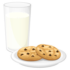 Vector illustration of a glass of milk and two chocolate chip cookies on a plate.