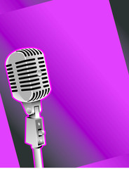 Graphic of old-fashioned microphone against purple background