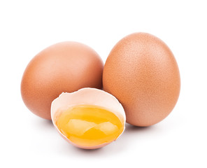 brown eggs isolated on white