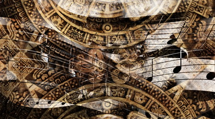 Ancient Mayan Calendar and  Music note, Cosmic space with stars, abstract color Background, computer collage.