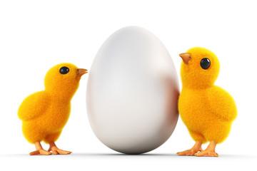 zwei küken mit weißem ei