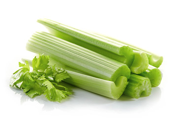 green celery sticks and leaf