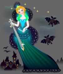 Illustration of magic princess wits a sword in wonderland, vector cartoon image.
