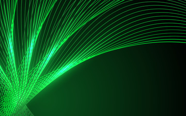 Abstract green waves - data stream concept. Vector