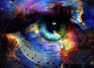 Woman Eye and music note and cosmic space with stars. abstract color background, eye contact.