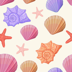 Seamless pattern background of shells. Can be used in different ways. Vector.