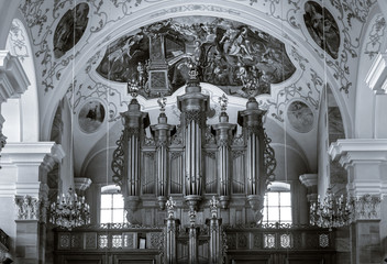 Beautiful organ view inside baroque church