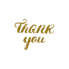 Hand drawn ink thank you card, gold glitter textured