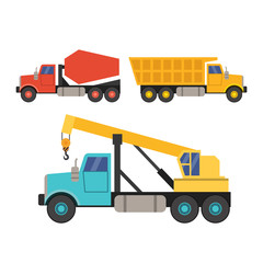 set of construction equipment in the flat style. crane, truck and concrete mixer