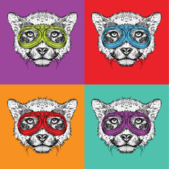A set of portraits of cheetah in motorcycle glasses. Pop art style vector illustration.