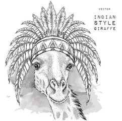 Giraffe in the Indian roach. Indian feather headdress of eagle. Hand draw vector  illustration