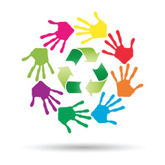 Vector concept circle of hands, green recycle symbol