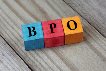 BPO text (Business Process Outsourcing) on colorful wooden cubes