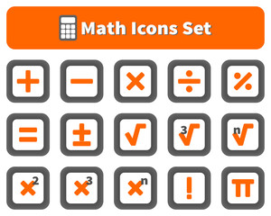 Math and calculator icons set