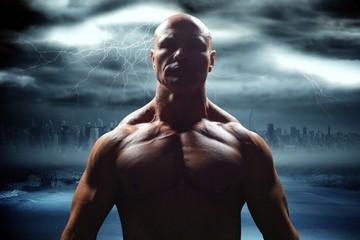 Composite image of portrait of bodybuilder