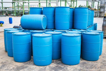 Plastic Storage Drums, Blue Barrels.